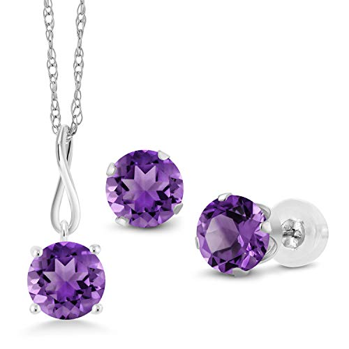 Gem Stone King 3.00 Ct Round Purple Amethyst 10K White Gold Pendant Earrings Set With - Round Pendant Amethyst Gold