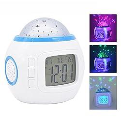 Clocks for Kids Music Star Sky Projection Alarm Clock for Bedroom Smart Home Travel Children Snooze Bedside with LED Backlight Colorful