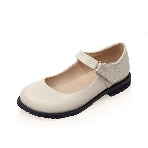 BalaMasa Womens Square Heels Hook-And-Loop Round-Toe Urethane Mary-Jane-Flats Beige P05eEpVQR3