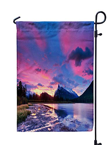 Shorping Welcome Garden Flag, 12x18Inch Sunset Sunrise Above Lakes National Park Canada Banff for Holiday and Seasonal Double-Sided Printing Yards Flags