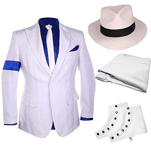 Classic MJ Michael Jackson Smooth Criminal Stripe Suit Blazer Spat Hat Full Set White]()