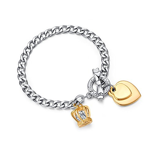 UMODE Jewelry Toggle Hearts Crown 2 Carat Cubic Zirconia Cz Diamond Link Charm Bracelet for Women 7.5 In