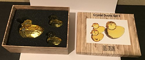 Oleg Cassini Yellow Crystal Ducks Set of 3 #3932 Crystal Duck Figurine