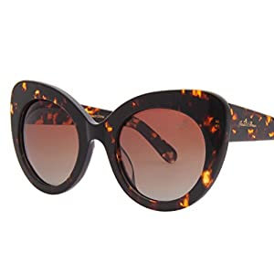 Jardin d'amour Polarized Oversized Cat Eye Carl Zeiss Lens Sunglasses for Women JS8101 Leopard