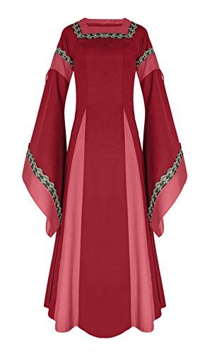 (KUFV Women's Medieval Dress Halloween Cosplay Costume Floor Length Retro Long Gown)