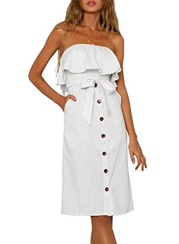 ZESICA Women's Summer Off The Shoulder Ruffle Button Down Tie Waist Casual Midi Dress with - Summer White Dress Strapless