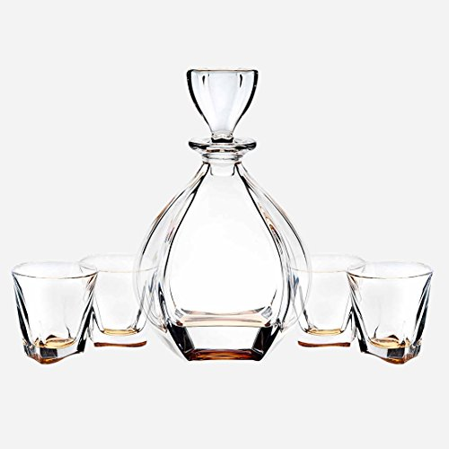 Amber Glass Decanter (James Scott Brookdale Amber European Made 5 Piece Crystal Bar Set, for Whiskey, and Wine. This set includes a 32oz Decanter with a diamond shaped stopper , and 4 x 9 oz. crystal DOF Glasses.)