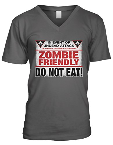 Amdesco Men's Zombie Friendly, DO NOT EAT! V-Neck T-Shirt, Charcoal Grey (Halloween Sayings About Food)