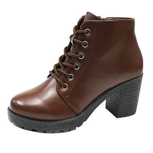 Ankle Boots for Women, Trends SNJ Women's Lace Up Chunky Heel Comfortable Combat Boots Booties [Synthetic Leather] Shoes with Side Zipper Closure, Dark Chocolate Brown Size 5 M [US Size]