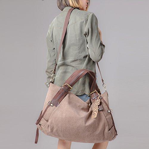 Gunaindmx Bag Laptop Bag Hand Luggage Bag Travel Bag Casual Canvas Bag Large Capacity, Large Brown Big Blue Sky