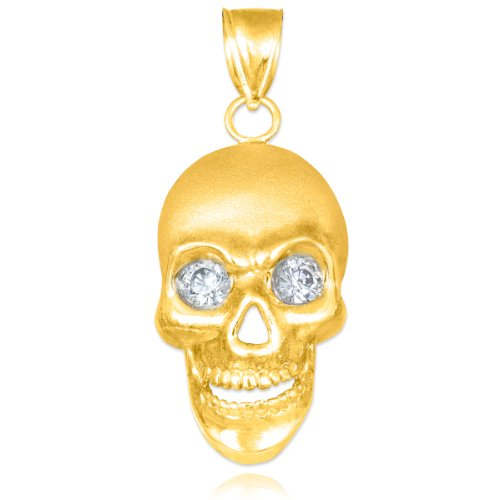(14k Yellow Gold Matte Finish Sandblast Skull Pendant)