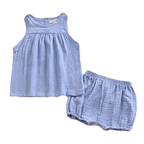 (ModnToga Baby Outfits Unisex Girls Boys Cotton Linen Blend Tank Tops and Bloomers (Blue,)