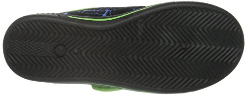 TurtlesBoys Kids Velcro low Houseshoes - pantuflas con forro cálido Niños Negro - Schwarz (Blk/Blk/Lgrn 130)