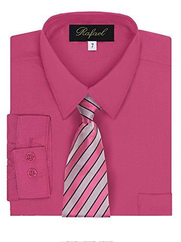 - Rafael Boy's Dress Shirt & Tie - Fuchsia, 5