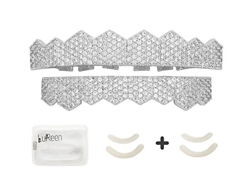Lureen 14k Gold Silver Plated Pave Full Iced Out CZ 8 Teeth Grillz Set + 2 EXTRA Molding Bars (Silver Set) (Out Teeth Iced)