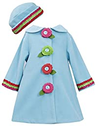 Bonnie Baby Baby Girls\' Fleece Coat and Hat Set, Turquoise, 12 Months