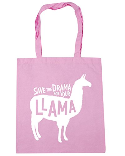 HippoWarehouse Save the Drama para su llama bolsa de la compra bolsa de playa 42cm x38cm, 10litros, negro (negro) - 21439-TOTE-Black rosa (classic)