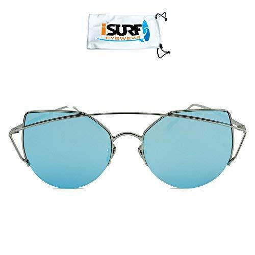 Occhiali Specchiato Da Sfumato Cat Unisex Sole Farfalla BluAzzurro Isurf A Marca Diamond Specchio knP8X0wO