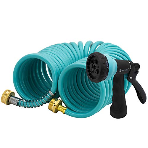 AUTOMAN EVA Recoil Garden Hose 25ft – Includes 7 Pattern Spray Nozzle,Curly Water Hose 25 Foot,Watering Hose Coil,Retractable,Corrosion Resistant Garden Coil Hose.