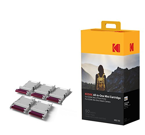 Kodak Mini 2 Photo Printer Cartridge MC All-in-One Paper & Color Ink Cartridge Refill - 50 Pack - COMPATIBLE with Mini Shot Camera, Mini 2 Printer (Not with Orignal Mini),Blue by Kodak