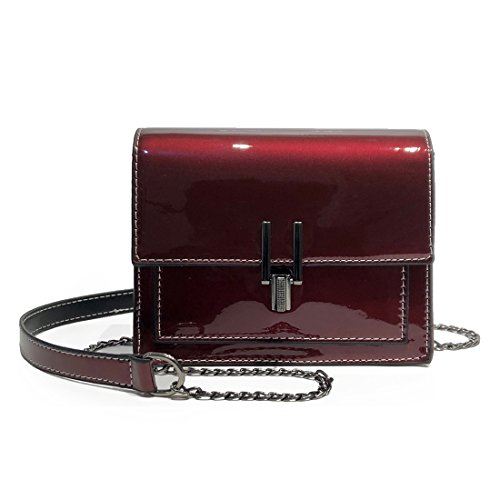 (LXC Womens Bag Patent Leather Mirror Bright Shoulder Bag Crossbody Bag for Women (Red))