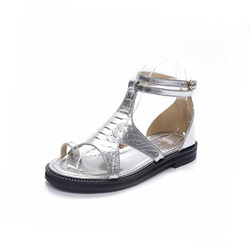 AllhqFashion Women's Open Toe Buckle PU Solid Low-heels Sandals Silver