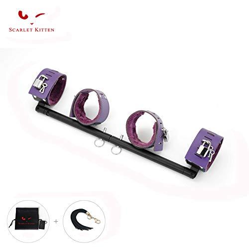 SCARLET KITTEN Exercise Spreader Bar with 4 Adjustable Straps Set, Black and Purple ()