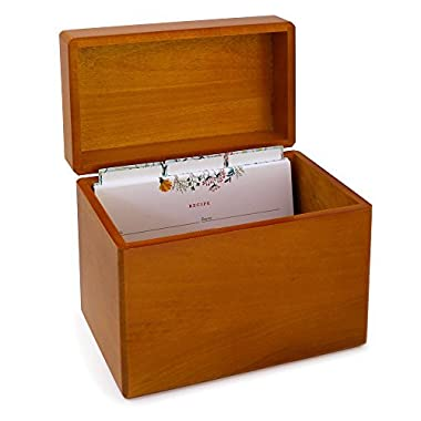 Maple Wood Recipe Box with 4x6 Floral Recipe Cards and Dividers. Classic Style Recipe Card Box, With a Warm Rustic Wood Finish