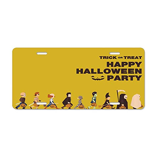 GRAETfpeoglsd Trick or Treat Halloween Party Pirate Clown Dracula Mummy Frankenstein Witch Customized License Plate Cover Aluminum Metal Car Licenses Plate Frame Holder for US -