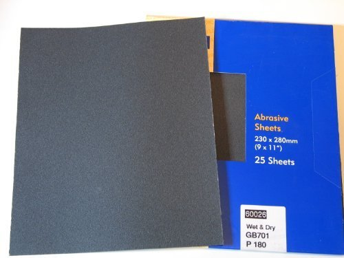25 x Wet and Dry Silicone Carbide Abrasive SandPaper Sheets Metal Plastic Wood Stone Grit: 100 120 180 240 280 320 360 400 600 800 1000 1200 SANDING FINISHING POLISHING by NAYLORS