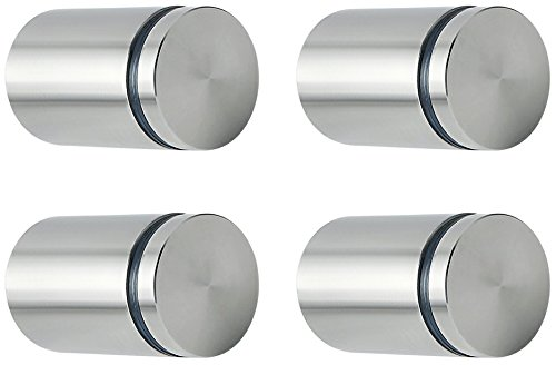 """Alise 1"""" Dia x 1-5/8"""" Ln Store Sign Holders Screws Wall Mount Hardware Advertising Glass Standoff Nail,QS525-4P Stainless Steel Brushed Nickel Finish 4 Pcs"""