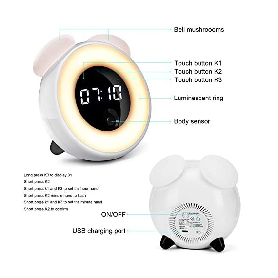 vosov Alarm Clock for Kids Teenage Women Sleeping,Body Recognition Electric Digital Clock,Smart LED Waken up Clock for Bedside - The body recognition:the time will be displayed automatically when you are present and be turned off automaticaly when you leave. A touch sensing:a gentle touch is enough to turn on the light ,the light will be off automatically following your body movememts,It will stay on when you keep moving and will shut automatically when you go sleep. Adjustable brightness settings:a bedside lamp to protect your eyes.It is the best choice to take care of your baby in the dark night. - clocks, bedroom-decor, bedroom - 41lofjyMBqL. SS570  -