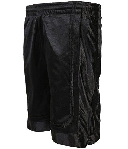 Galaxy by Harvic Boys Two-Tone Active Mesh Short, Black/Black, Small 8' (Striped Basketball Mesh Shorts)