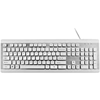 Premiertek 103 Keys USB Desktop Keyboard with Chocolate Key and Anodized Aluminum Finish Panel White (K902)