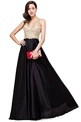 Babyonline V Neckline A-line Backless Long Black and Gold Evening Dresses