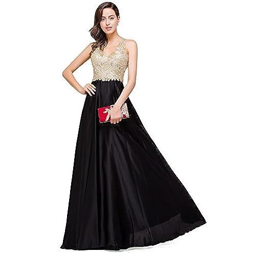 Babyonline V-Neck Open Back Embroidered Prom Gowns for Girls Black/Gold 2