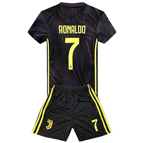 4ff9ecea4  7 Ronaldo Juventus Kids Youth Away Boys Soccer Jersey   Shorts 18-19  Season Black 13-14Years 28