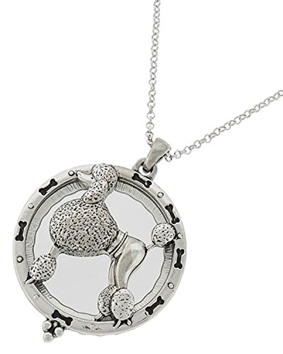 Artisan Owl Poodle Dog Magnifier Magnifying Glass Sliding Top Magnet Pendant Necklace, 30