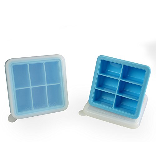Mirenlife 6 Cube Premium Silicone Ice Cube Tray with Lid, Set of 2, Blue