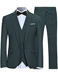 7118472a526 Men s Slim Fit 3 Piece Suit One Button Blazer Tux Vest   Trousers
