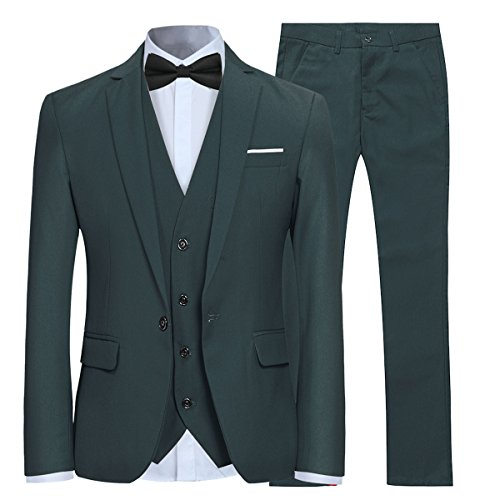 Men's Slim Fit 3 Piece Suit One Button Blazer Tux Vest & Trousers, Dark Green, Medium