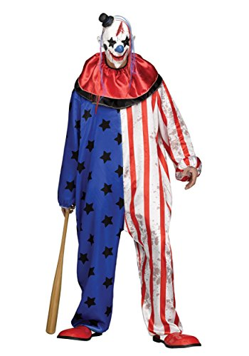 Fun World Men's Evil Circus Clown Adult Costume, Multi Standard