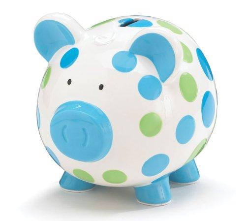 Blue & Green Polka Dots Ceramic Piggy Coin Bank Toy Zany 0436161