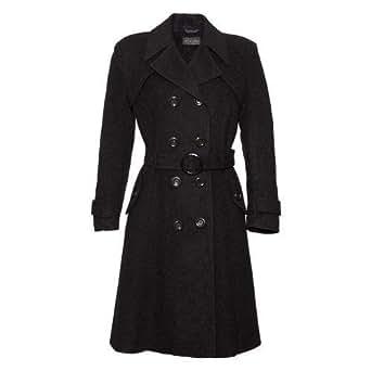 De La Creme Women`s Wool & Cashmere Winter Long Belted Coat Size 10 Black