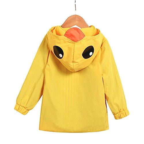 Birdfly Unisex Kids Animal Raincoat Cute Cartoon Jacket Hooded Zip Up Coat Outwear Baby Fall Winter Clothes School Oufits (5T, Quacker) by Birdfly (Image #4)