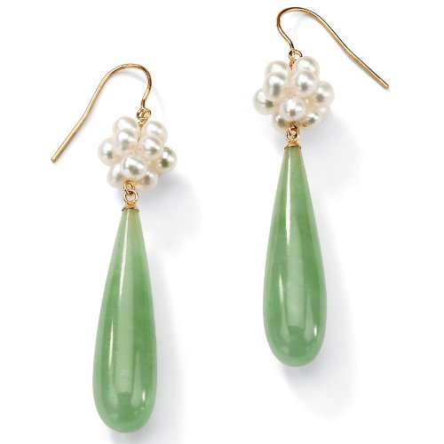 - Genuine Green Jade and Cultured Freshwater Pearl Accent 10k Yellow Gold Drop Earrings