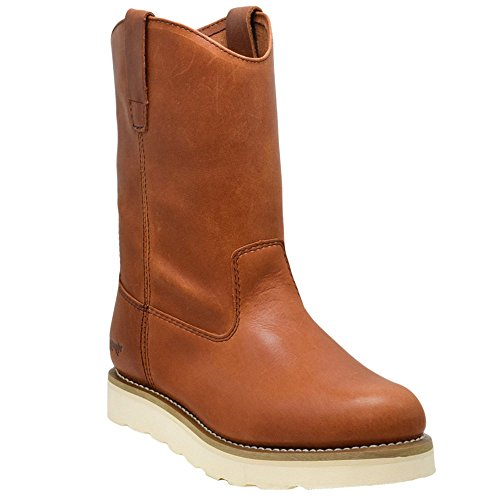 "Golden Fox 12"" Work Boot Pull On Wellington Wedge Lightweight Outsole for Construction Farming and Ranching (10 D(M) US, Brun)"