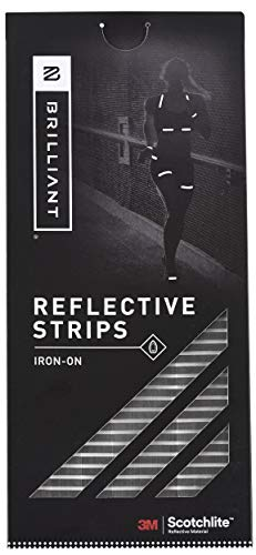Brilliant Reflective Iron-on Reflective Tape for Clothing - Adhesive Reflective Running Gear Made of 3M Scotchlite Reflective Safety Material - Segmented Pattern - Washable and Waterproof - 12 Strips