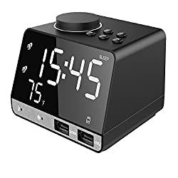 INLIFE Digital Alarm Clock Radio with Wireless Bluetooth Speaker, USB Charging, Snooze, AUX TF Card Play, FM Radio, Thermometer, Large Mirror LED Dimmable Display