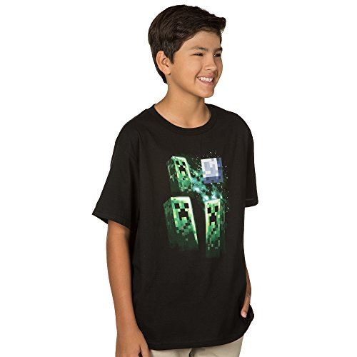 Minecraft Big Boys' Three Creeper Moon Youth T-shirt